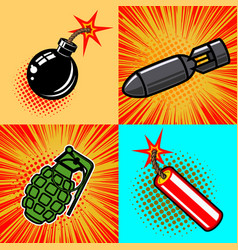 set of bomb in pop art style vector image