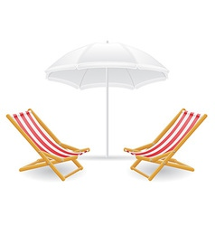 Beach chairs and parasol 01 vector