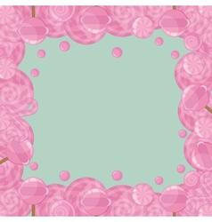 Candy lollipops frame vector image