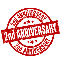 2nd anniversary round red grunge stamp vector image vector image