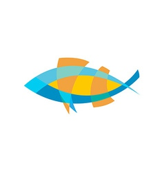 Fish logo template color lines with flattened vector