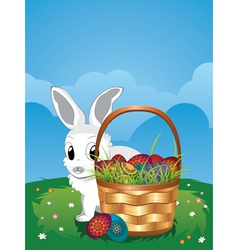 Easter bunny with eggs in the basket5 vector