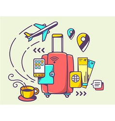Red suitcase and travel accessories vector