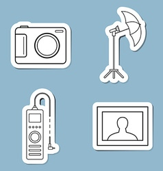 Camera accessories line icon set vector
