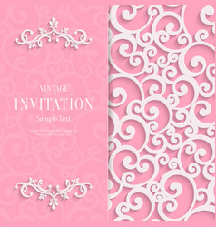 Pink 3d vintage invitation card with swirl vector