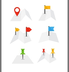 Folded abstract city map with collection of flags vector image