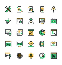 Seo and marketing colored icons 3 vector
