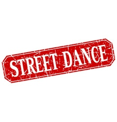 Street dance red square vintage grunge isolated vector