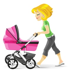 Young mother walking with a pink stroller vector