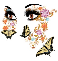 Summer eyes with floral3 vector