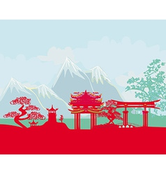 Asian abstract landscape vector image vector image