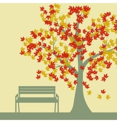 Autumn tree and benches falling maple leaves vector