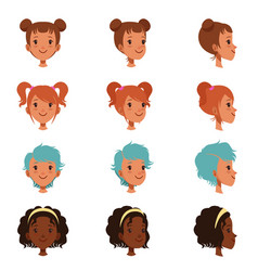 avatars of female faces with different haircuts vector image vector image
