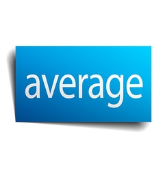 Average blue square isolated paper sign on white vector