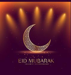 beautiful eid mubarak festival with crescent moon vector image vector image