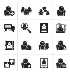 Black social media and network icons vector