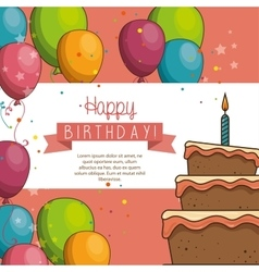 Cake balloon happy birthday desing isolated vector
