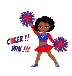 Cheerleader in red blue uniform with pom poms vector
