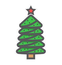 christmas tree filled outline icon new year vector image vector image