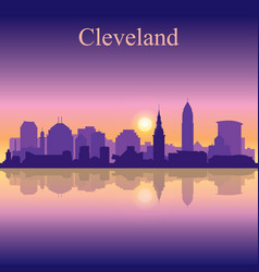 Cleveland silhouette on sunset background vector
