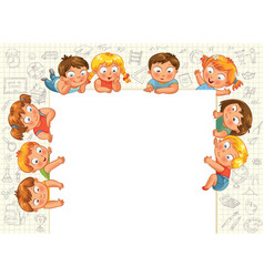 cute little kids show a blank poster vector image