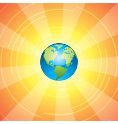 earth and sun rays vector image
