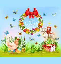 Easter holiday cartoon greeting card design vector