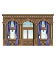 facade of wood vector image