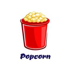 Fresh popped cartoon takeaway popcorn vector