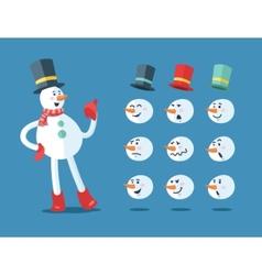 Funny snowman Cartoon set vector image vector image