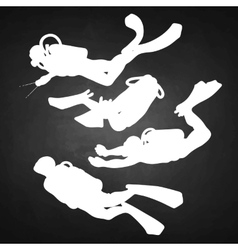 Graphic set of scuba divers silhouettes vector
