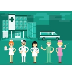 Health workers in the hospital background vector