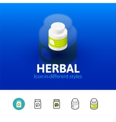 Herbal icon in different style vector image vector image