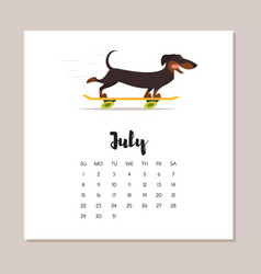 july dog 2018 year calendar vector image vector image