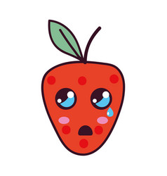 Kawaii cute surprised strawberry fruit vector