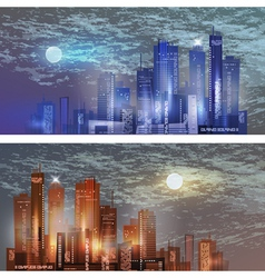 Modern City landscape in moonlight vector image vector image