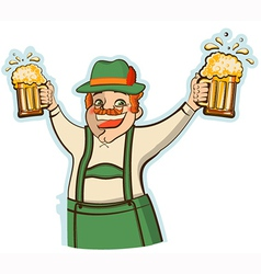 oktoberfest man with glasses of beer isolate vector image vector image