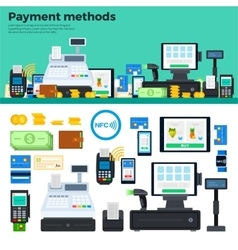 Payment methods with devices on the table vector