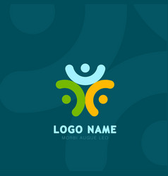 people logo grroup of three people logos social vector image vector image