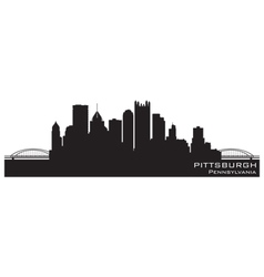 Pittsburgh Pennsylvania skyline Detailed silhouett vector image
