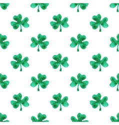 Seamless watercolor pattern with clover leaves on vector