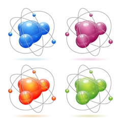 Set Atom Model vector image vector image