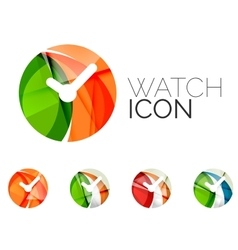 Set of abstract watch icon business logotype vector image