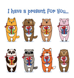 set of animals and pets in holding presents vector image vector image