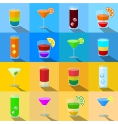 Set of beach themed cocktails in transparent vector image
