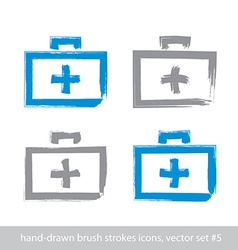 Set of brush drawing simple blue first aid kit vector image vector image