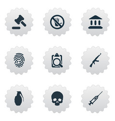 Set of simple police icons vector