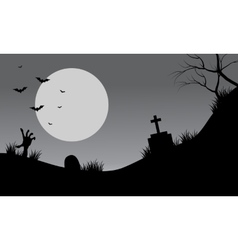 Silhouette of scary tomb halloween vector