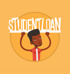 Student holding sign of student loan vector