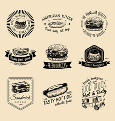 vintage fast food logo set retro quick vector image vector image
